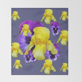 COLLAGE OF CHARCOAL GREY PURPLE PANSIES YELLOW IRIS Throw Blanket