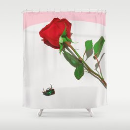 Fig Beetle & Rose Shower Curtain