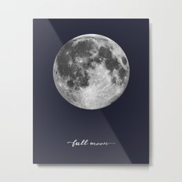 Full Moon on Navy English Metal Print