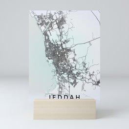 Jeddah, Saudi Arabia, White, City, Map Mini Art Print
