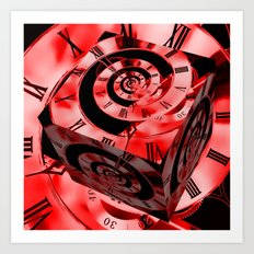 Red Infinity Clock with Cube Art Print