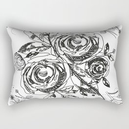 Summer time abstract black flowers. Nature theme. Abstract roses and flower Rectangular Pillow