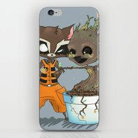 rocket raccoon iPhone & iPod Skins featuring Rocket Raccoon & Baby Groot by Whimsette