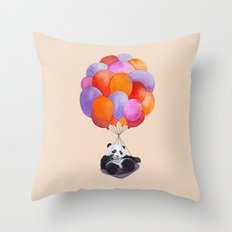 Panda flying with balloons Throw Pillow