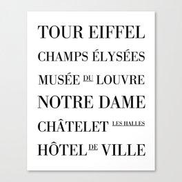 Paris Subway Sign - Typography Print  Canvas Print