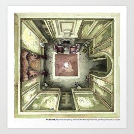 THE MATRIX's room of the meeting between Neo and Morpheus in watercolor Art Print