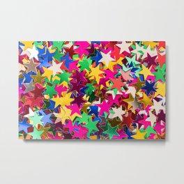 Rainbow Glitter Stars Metal Print