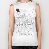 oklahoma Biker Tanks featuring Oklahoma City Map Gray by City Art Posters
