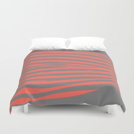 Coral & Gray Stripes Duvet Cover