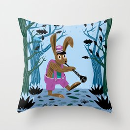 The Clarinet Bunny Throw Pillow