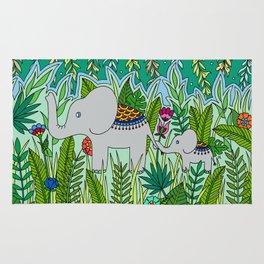 Elephant Mom and Baby Rug