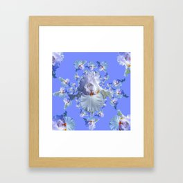 BLUE-WHITE IRIS ABSTRACT PATTERN Framed Art Print
