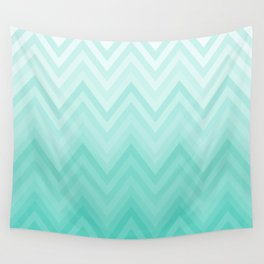 Fading Teal Chevron Wall Tapestry