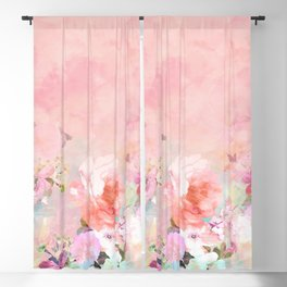 Modern blush watercolor ombre floral watercolor pattern Blackout Curtain