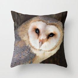 Owl Print Brown & Gold Throw Pillow