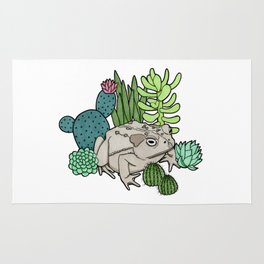 Toad with Succulents Rug