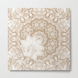 Butterfly on mandala in iced coffee tones Metal Print