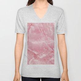 Pink Onyx Marble Unisex V-Neck