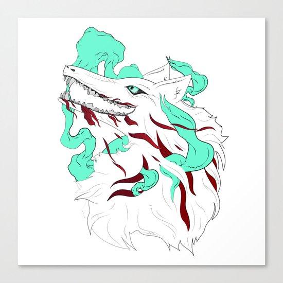 White Evil Wolf Canvas Print
