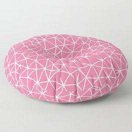 Connectivity - White on Pink Floor Pillow