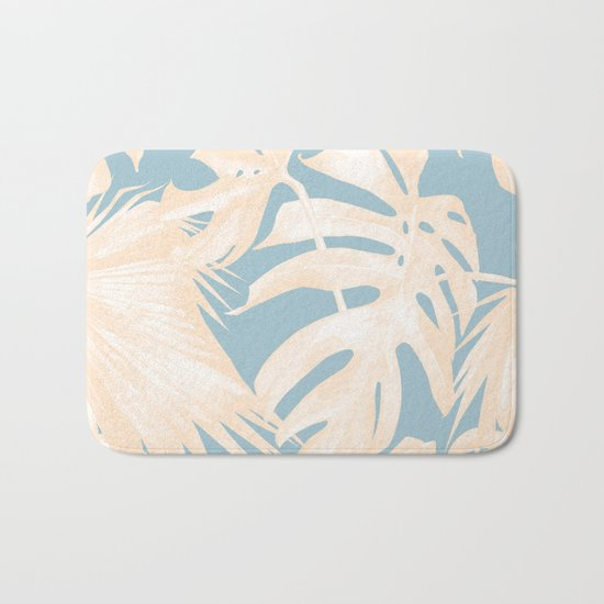 Island Vacay Hibiscus Palm Pale Coral Sky Blue Bath Mat