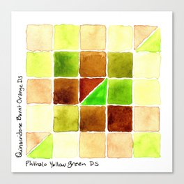 Color Chart - Quinacridone Burnt Orange DS and Phthalo Yellow Green DS Canvas Print