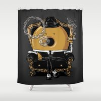 gangster Shower Curtains featuring Gangster Donut by Javier Ramos
