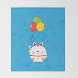 Fat Cat with Balloons Throw Blanket