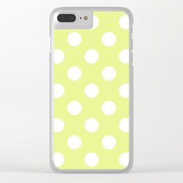 Key lime - yelllow - White Polka Dots - Pois Pattern Clear iPhone Case