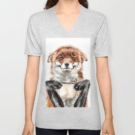 """ Morning fox "" Red fox with her morning coffee Unisex V-Neck"