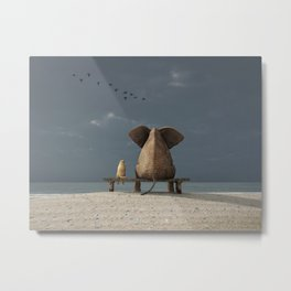 elephant and dog sit on a beach Metal Print