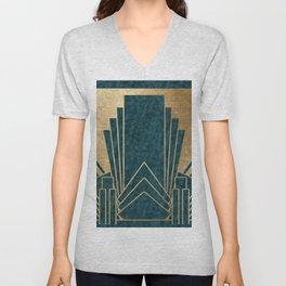 Art Deco glamour - teal and gold Unisex V-Neck