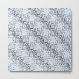 Lace Inspired Elegant Pattern - Navy Blue Metal Print