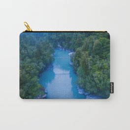 george river blue crazy vertical drone shot over bridge in new zealand Carry-All Pouch