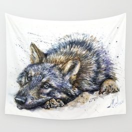 Wolf watercolor Wall Tapestry
