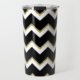 Black Gold White Chevron Pattern Travel Mug
