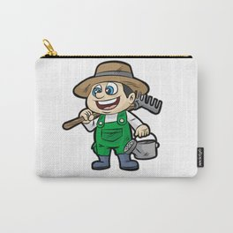 Happy GARDENER WITH TOOLS Gardening Cartoon Gift Carry-All Pouch