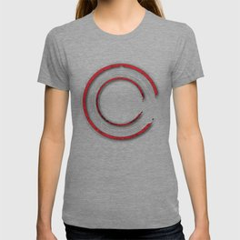 Red abstract enso circle with mystical out of space look T-shirt
