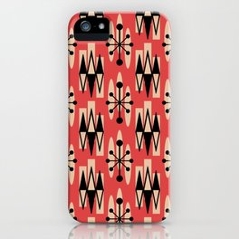 Retro Mid Century Modern Atomic Triangles 730 Red and Black iPhone Case