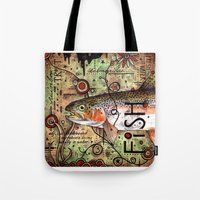 trout Tote Bags featuring Trout Collage by MoosePaw
