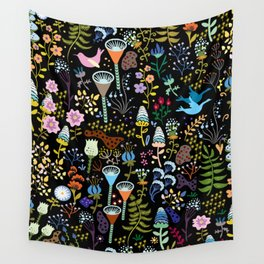 Seamless pattern with bright multicolored decorative flowers on a black background Wall Tapestry