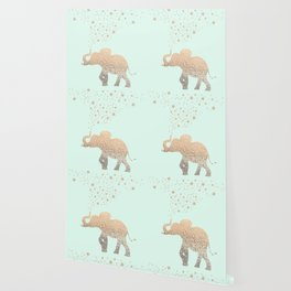 ELEPHANT - GOLD MINT Wallpaper