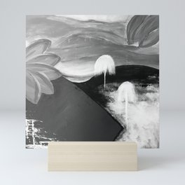 Abstract Flowers. Black and White. Flowers. Mountains. Landscape Mini Art Print