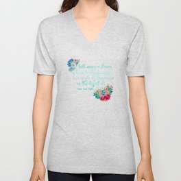Jane Austen Quote - Flowers on Black Unisex V-Neck