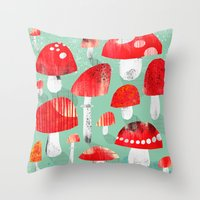 mushrooms Throw Pillows featuring Mushrooms by Claudia Voglhuber