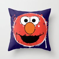 elmo Throw Pillows featuring Elmo splatt by Firepower