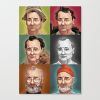 bill murray Canvas Prints featuring Bill Murray by Dave Collinson