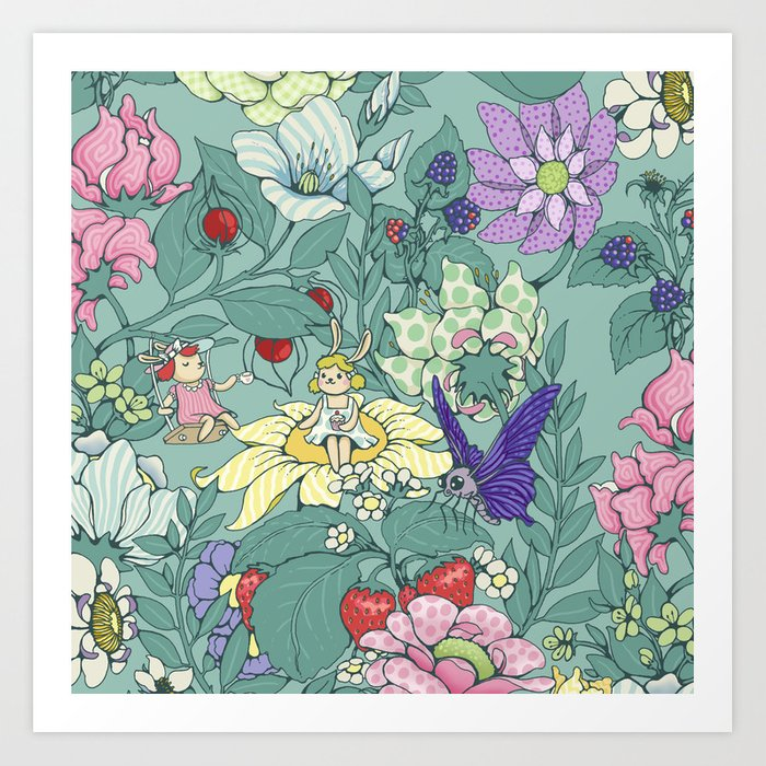 Garden party - mint tea version Art Print