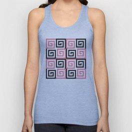 Geometric Pattern #124 (pink Greek spiral) Unisex Tank Top