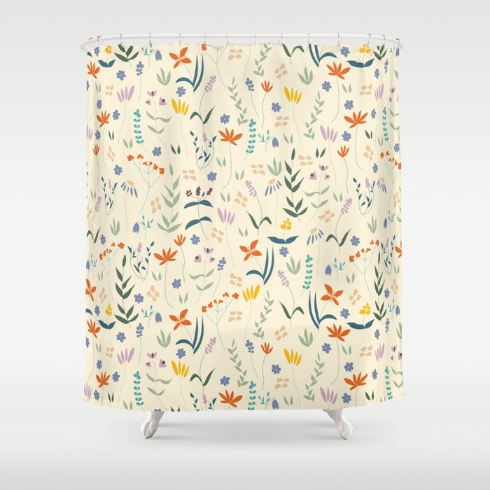 Retro Botanical Shower Curtain